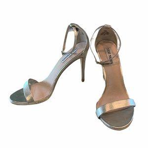 Steve Madden Silver Stecy Heel 8.5 Ankle Strap